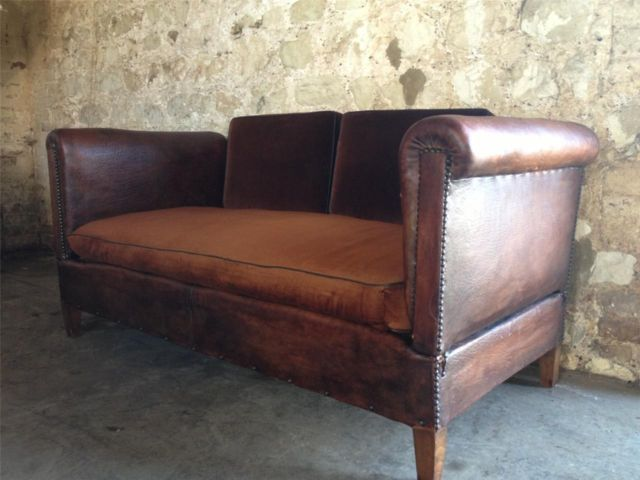 Antique French Leather Club Sofa Chair Bed In The Bedroom