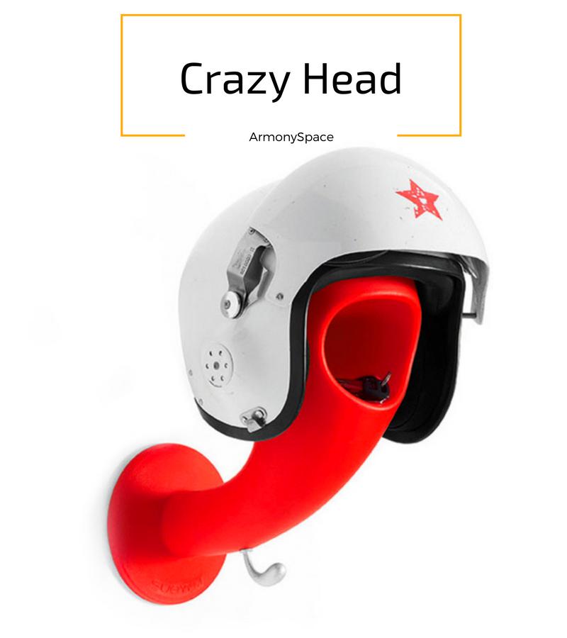 Colgador-Perchero · Helmet Hanger-Coat Rack 35x16x27 Especial para el casco y chaqueta con espacio para dejar llaves u otros objetos.   Disponible en multitud de colores. De muy fácil instalación y limpieza. Diseñado y fabricado en Italia    www.armonyspace.com