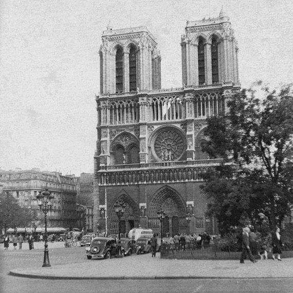 Vintage 1949 Image Notre Dame Paris Old Cars by eeBeeVintage