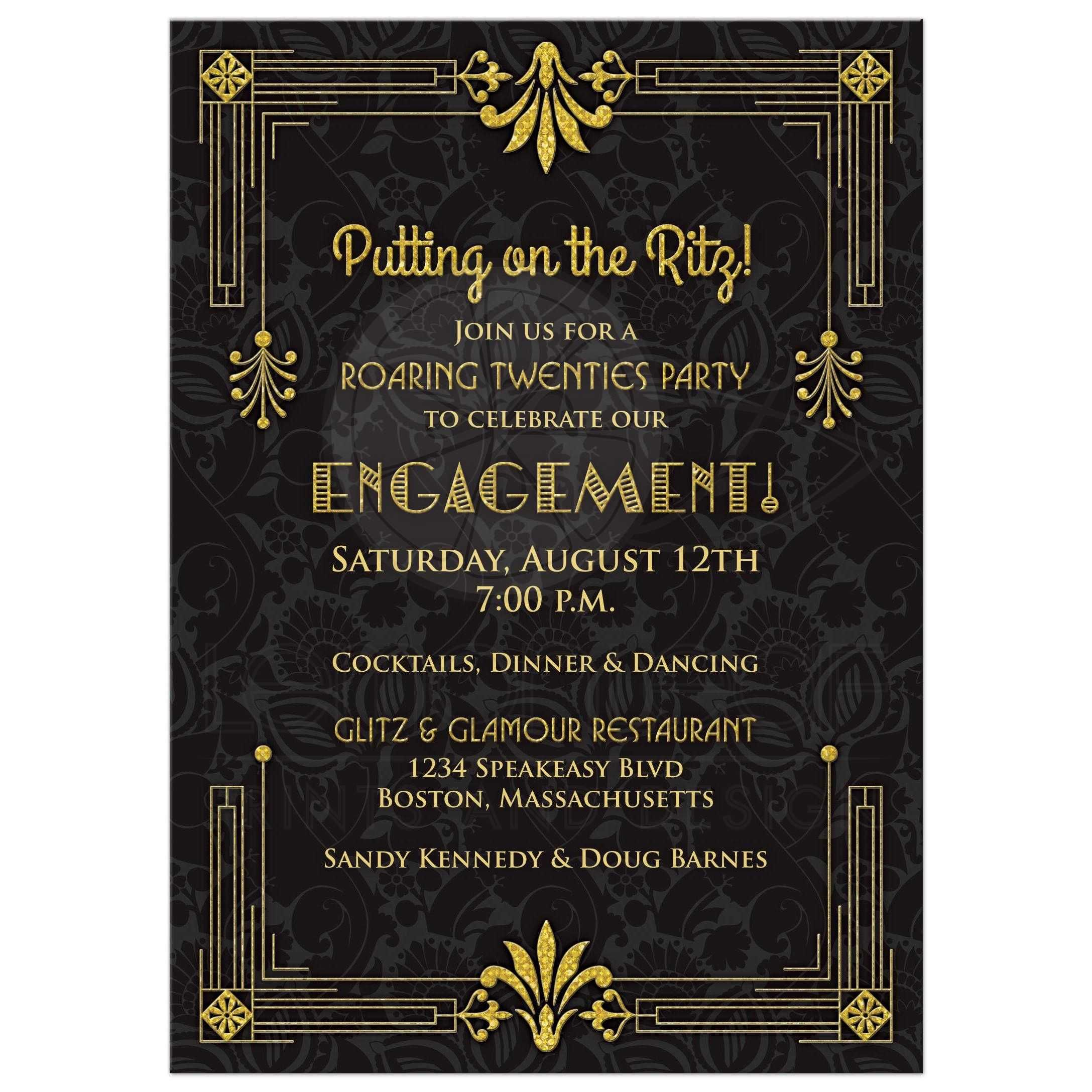 Roaring 20s art deco black and gold damask engagement party ...
