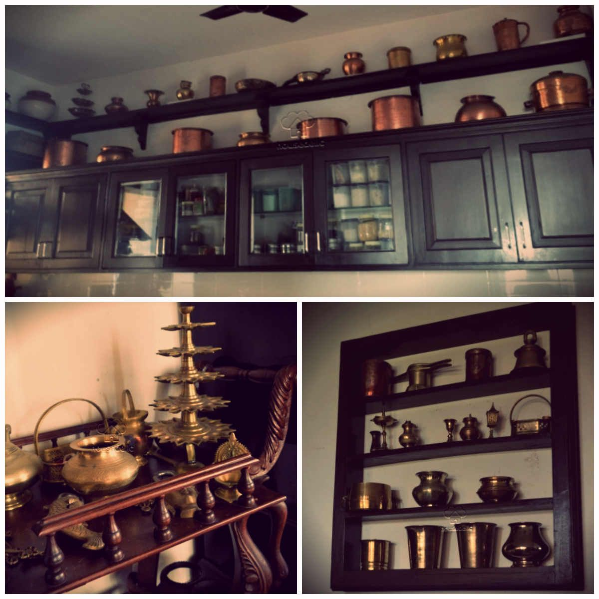 A South Indian Home With A Stunning Display Of Traditional Brass Utensils