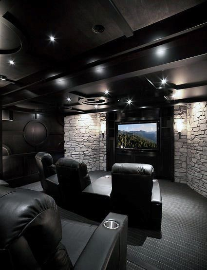 Black Ceiling With White Stone Walls Custom Home Theater Design