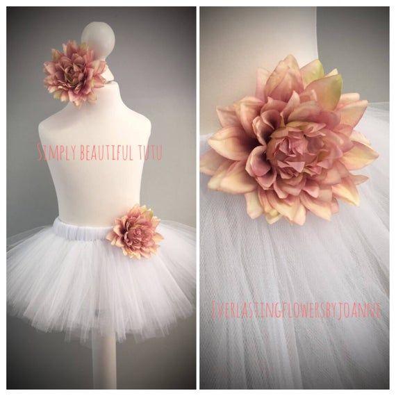 Photo of White tutu skirt pink flower set hair clip princess birthday girl flower girl photo shoot cake smash