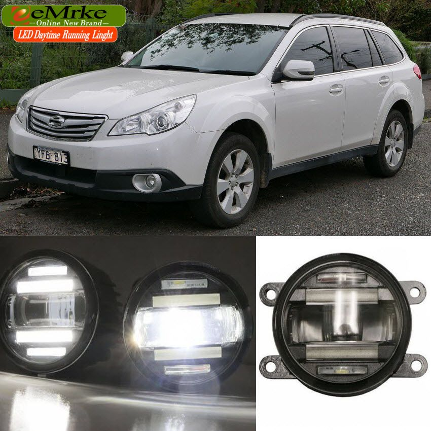 Eemrke Xenon White High Power 2in1 Led Drl Projector Fog Lamp With Lens For Subaru Outback 2010 2011 2012 Subaru Outback Fog Lamps Subaru