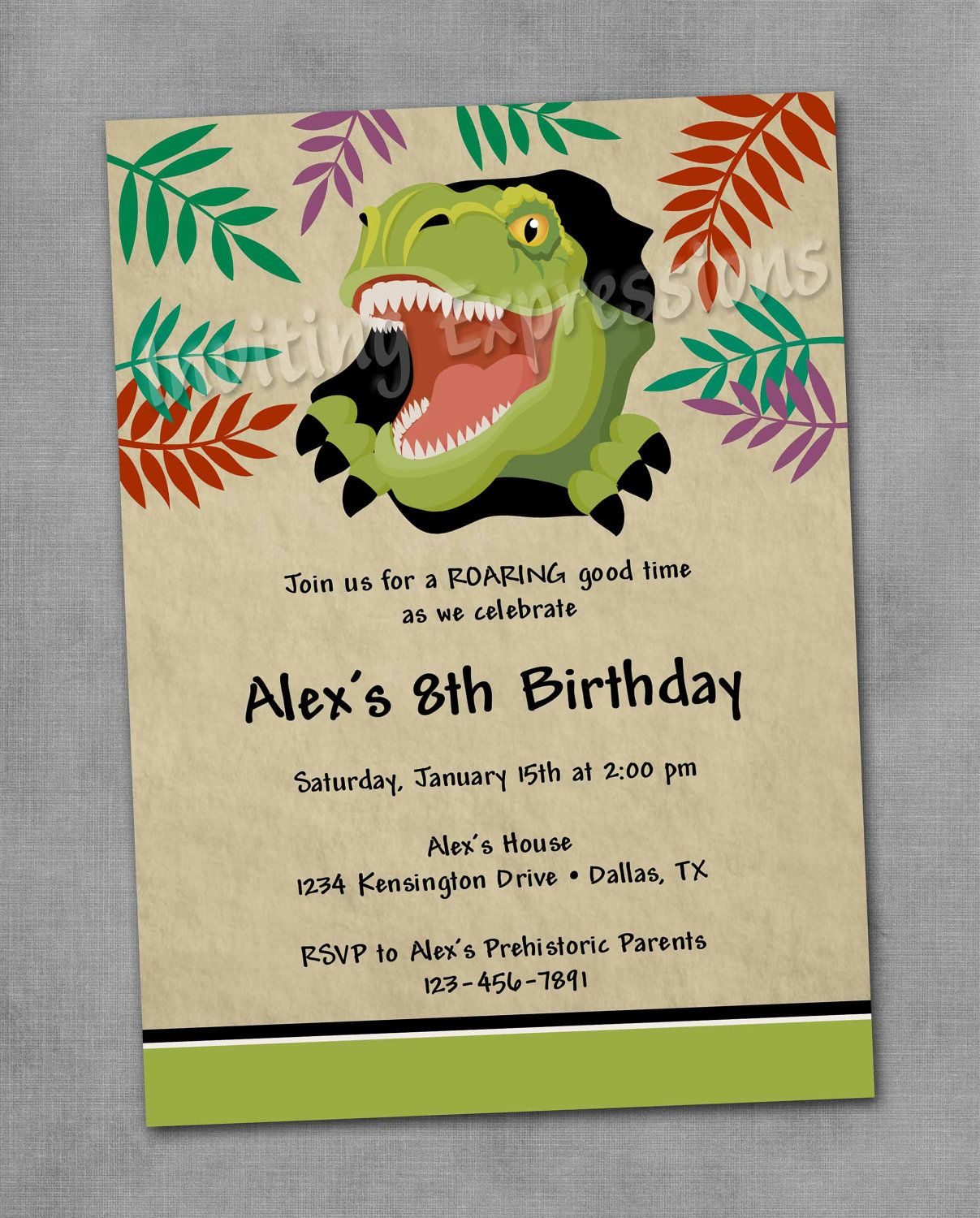T Rex Dinosaur Birthday Invitations Personalized Boy Party – Boy Party Invitations