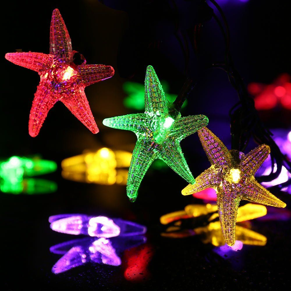 Amazon luckled starfish solar string lights 20ft 30 led amazon luckled starfish solar string lights 20ft 30 led fairy decorative christmas lighting for indoor and outdoor home lawn garden wedding mozeypictures Images