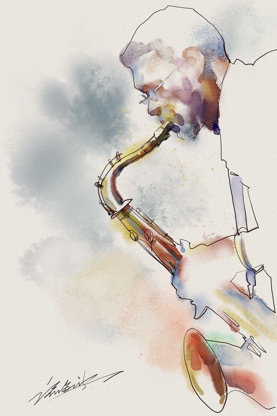 诸海波 Zhuzhu Kai Fine Art Jazz Painting Saxophone Art Art