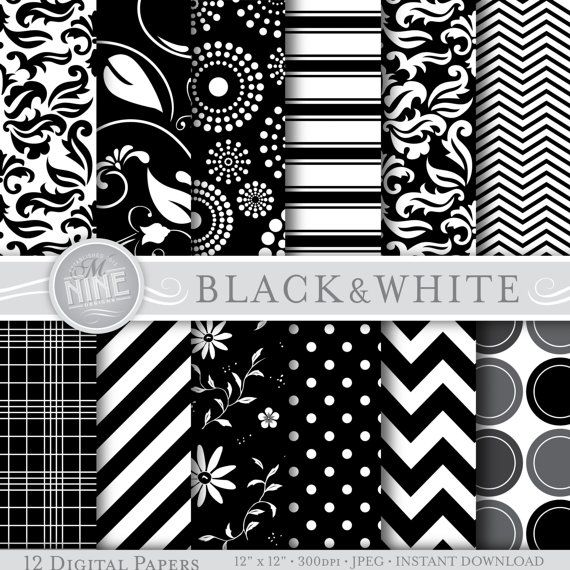 Digital paper black white pattern prints by mninedesigns on etsy 4 99
