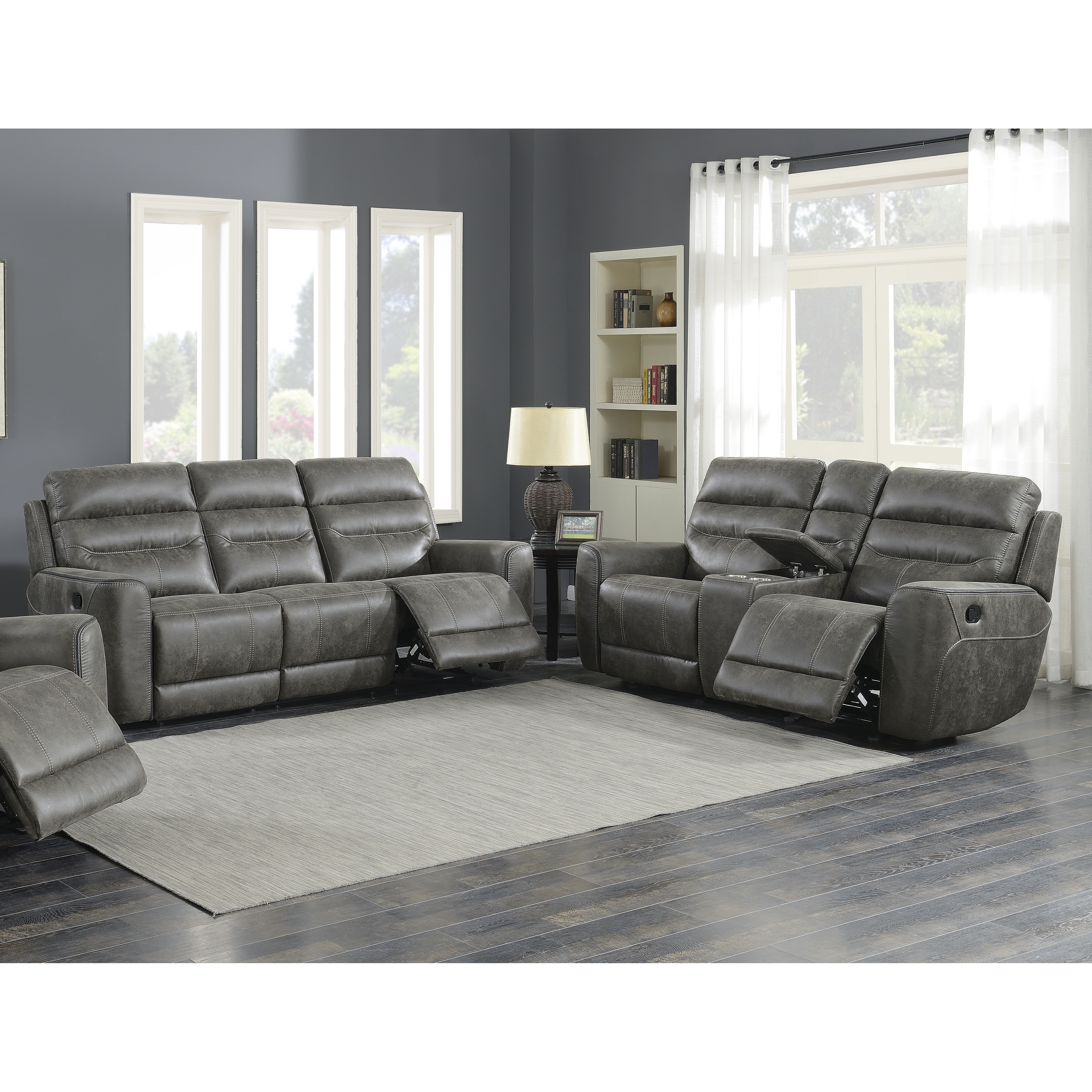 Pleasant Sintra Charcoal Faux Leather Manual Reclining Sofa And Bralicious Painted Fabric Chair Ideas Braliciousco