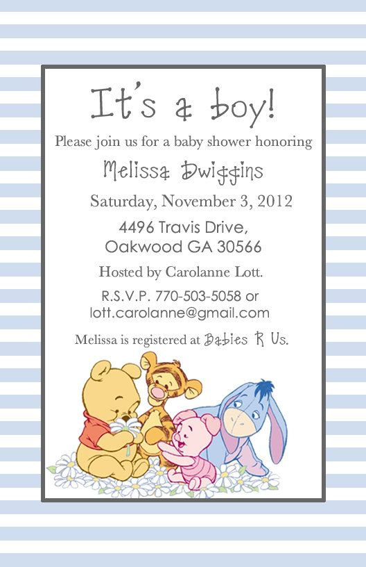 Elegant Adorable Winnie The Pooh Baby Shower Invitations