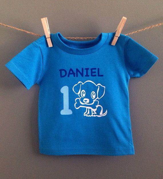 Boys Puppy Dog Themed First Birthday Shirt By WeeLoveToShop
