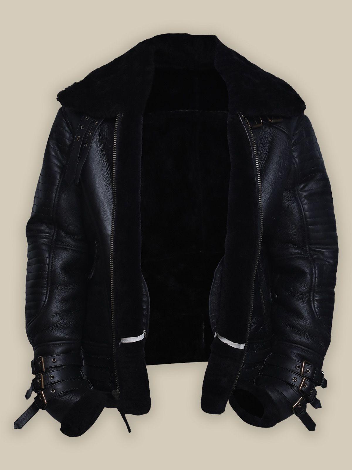 Men Black Biker Shearling Jacket Jackets, Shearling