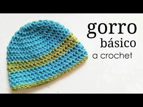 Gorro Básico a Crochet - TODAS LAS TALLAS - Paso a Paso - YouTube ... 7e13ee2e3cc