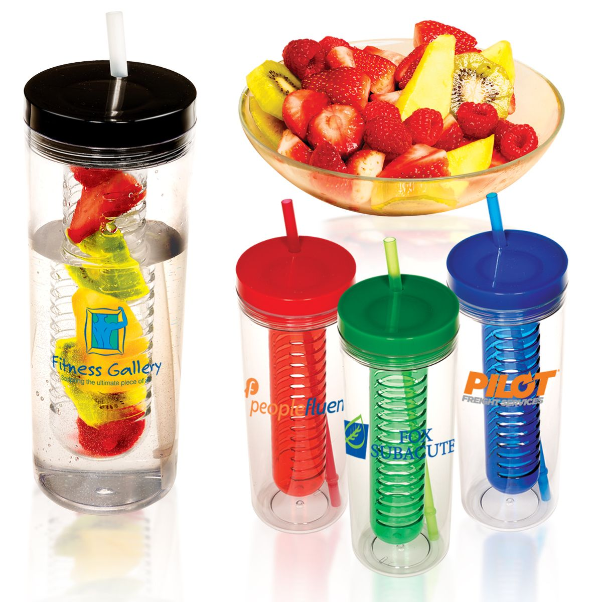 PL-4075 Thirstinator Sipper with Infuser, a Prime Line® exclusive! 20 oz. single-wall SAN acrylic tumbler with infuser and polypropylene straw. Fill infuser with fruit to flavor water  Screw-on top. Straw features molded gasket. Straw will not fall out when top is screwed on.