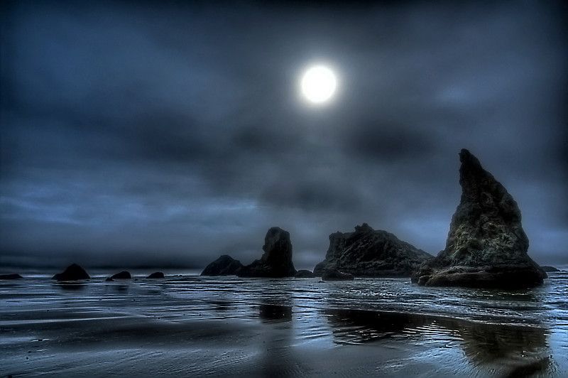 Eclipse and Sea Stacks, Bandon, OR by Craig Wennersten