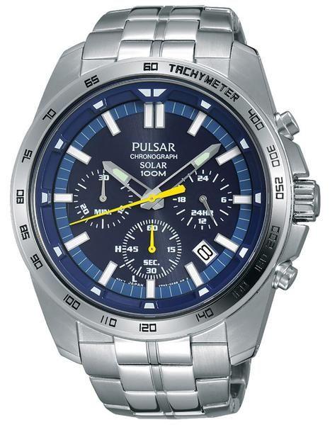 Pulsar Mens Chronograph Solar Stainless Bracelet Blue Dial