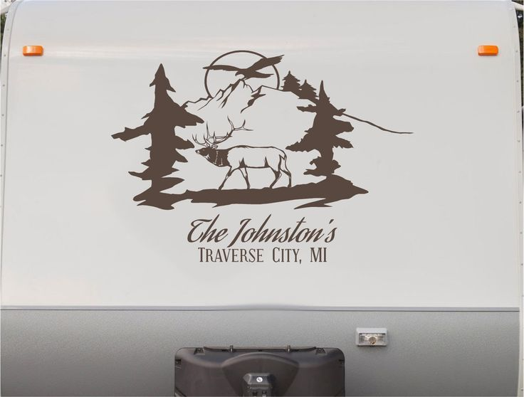 Elk Buck Mountains RV Camper Motor Home Decal Sticker Sign CD121 Elk Buck Mountains RV Camper Motor Home Decal Sticker Sign CD121