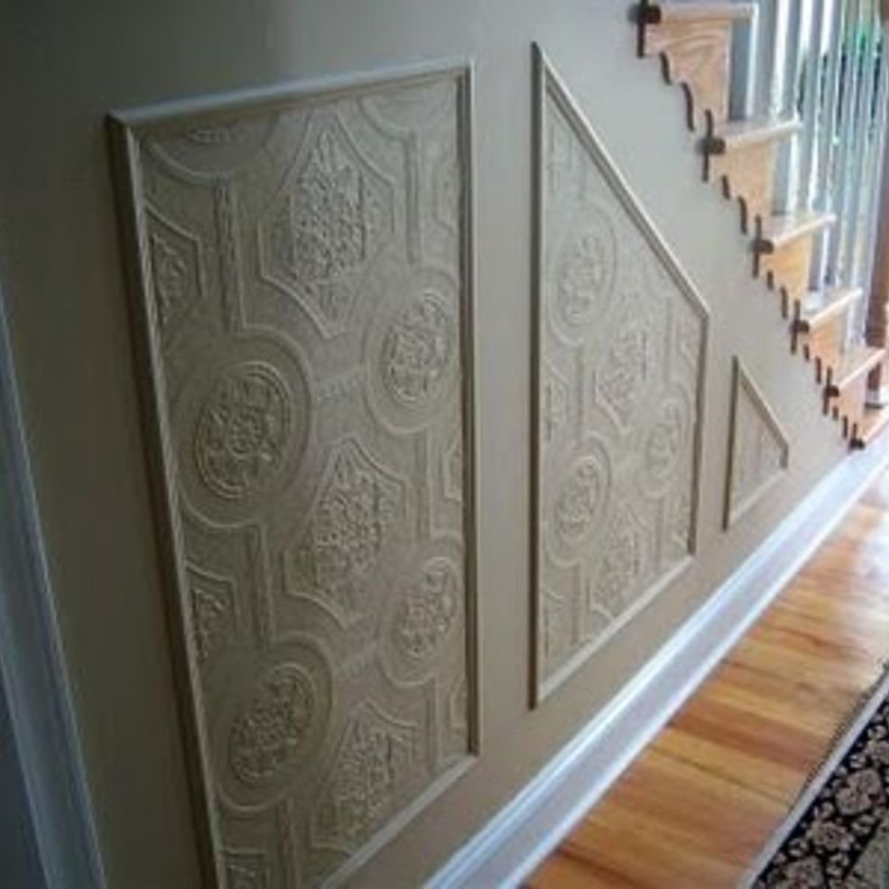 Faux Carved Wainscoting Using Textured Wallpaper