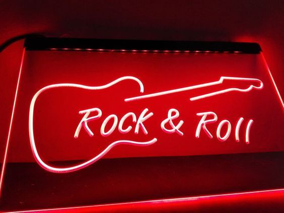 Rock and Roll Guitar Music LED Neon Sign home decor wall room man cave bar