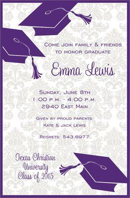 purple graduation flair invitations graduation pinterest