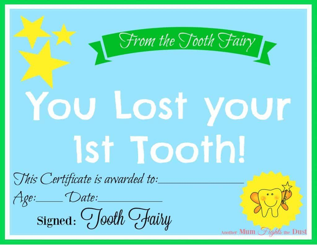 Free Printable Tooth Fairy Certificate 40 Pinterest Tooth