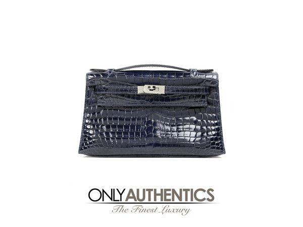 Hermès Blue Marine Niloticus Crocodile Kelly Pochette  4cdb1db792