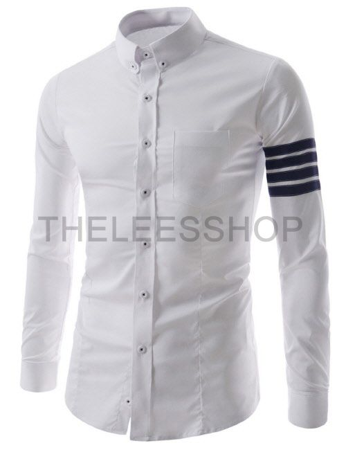 97bcbeb962479 (CEL55-WHITE) Mens Slim Fit Button Down Chest Pocket 4 Stripe Patch Long