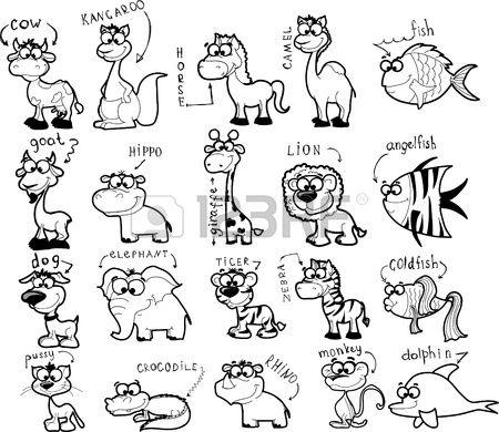 Stock Vector Cute Animal Drawings Cute Cartoon Animals Cartoon Drawings Of Animals