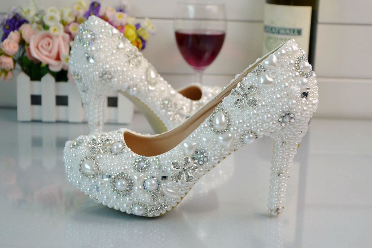 Wedding shoes for lace dress  Fashion White Pearl Flowers Bridal Wedding Dress Shoes Crystal