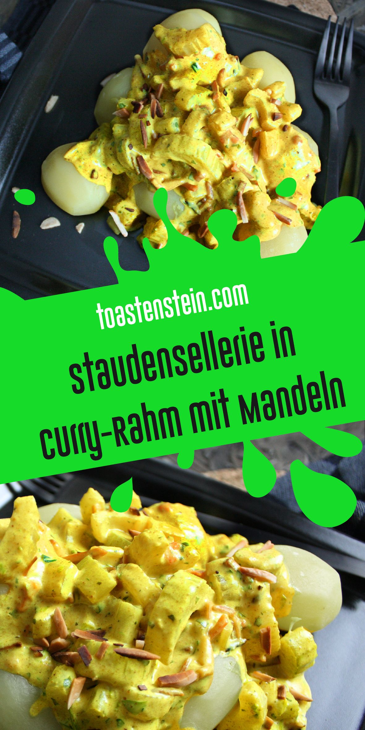 Staudensellerie in Curry-Rahm mit Mandeln | Toastenstein.com