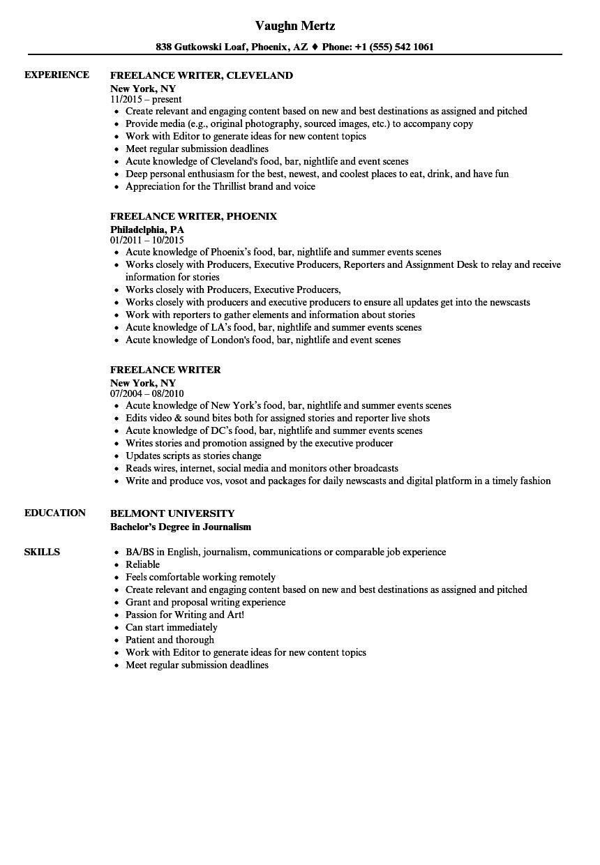 Freelance Writer Resume Samples Freelance Writer Resume Resume Examples Graphic Design Resume
