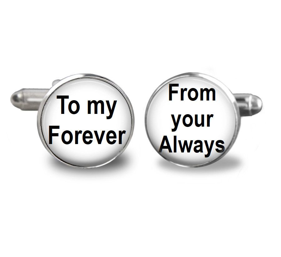Cufflinks Tieclip or Keyring for Groom - To my forever From your Always - For Groom wear or use on Wedding Day, gift to Groom from Bride by JackiesBridal on Etsy