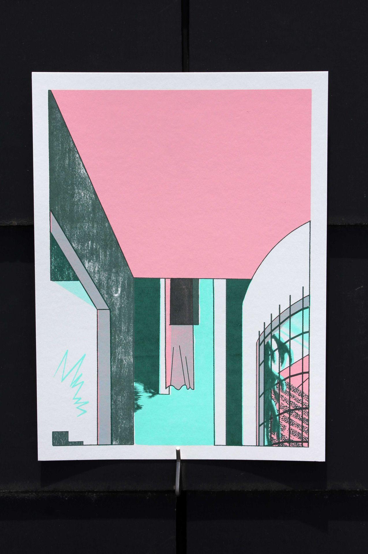 Poster maison pièce du bout choisi ta porte mais où est la clef de la porte 4 colors screen printed images 16x24 price 10€ unity