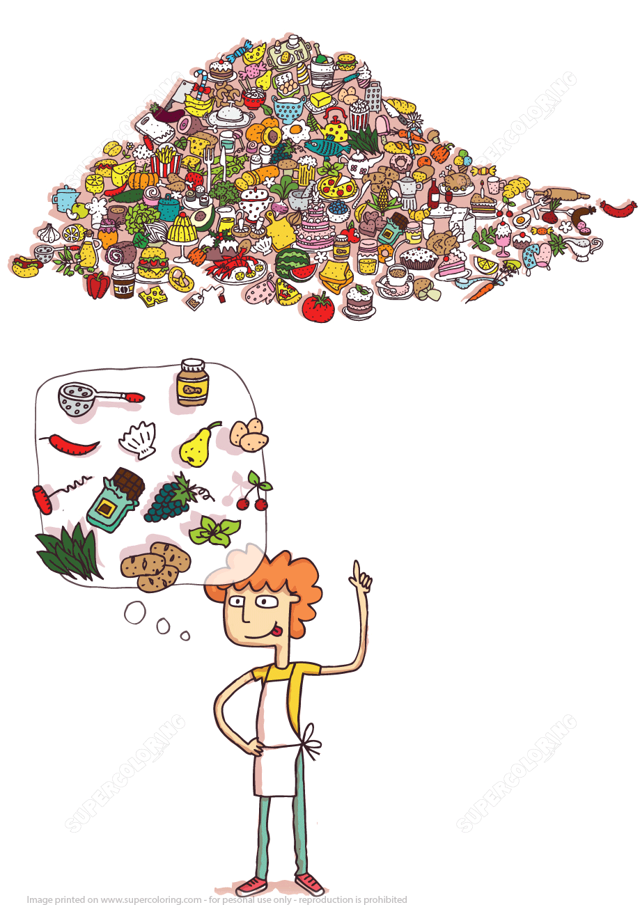 Find Kitchen Tools and Foods in a Pile of Objects Puzzle   Super Coloring
