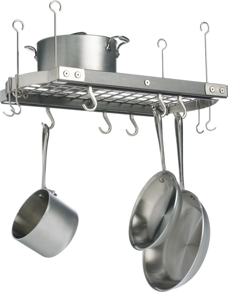 Pot and pan hanger for kitchen - J K Adams Small Grey Ceiling Pot Rack Crate And Barrel