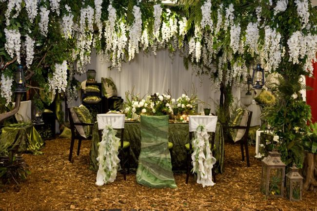 Concept with a little more color have the wisteria growing up green monochromatic wedding decor inspiration and ideas by wildflower linen junglespirit Images