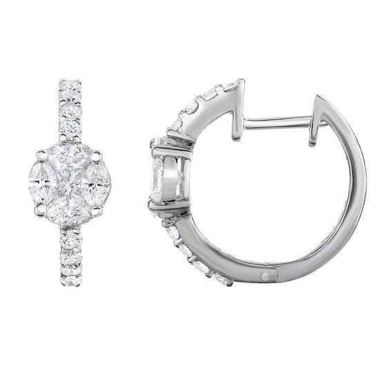 13e90f469 Adorne Collection 1 CT. T.w. Composite Diamond Hoop Earrings in 14K ...