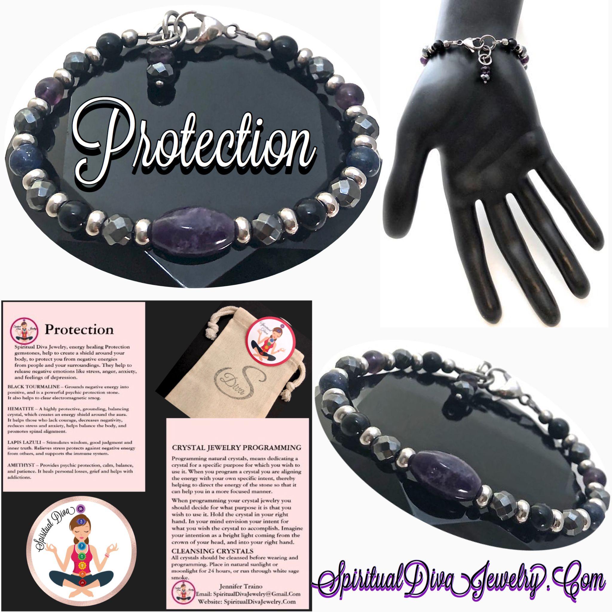 Protection Energy Healing Crystal Reiki Gemstone Charm Bracelet Energy Healing Crystals Healing Gemstone Bracelets Gemstone Healing