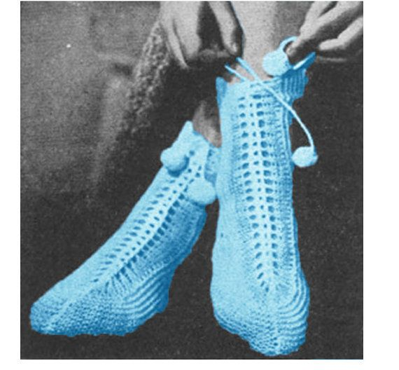 Knitting Socks Pattern Knitted Slippers Pattern Vintage 40s Knitted