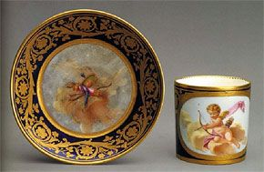 Sèvres, Cup and saucer with scene of Cupid shooting an arrow, 1780,  porcelain with painting and gilding