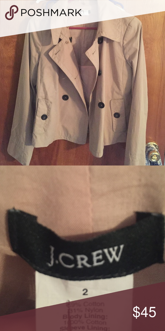 Jcrew short trench coat Jcrew short trench coat; had detachable hood but I don't have it anymore 🙈 J. Crew Jackets & Coats Trench Coats