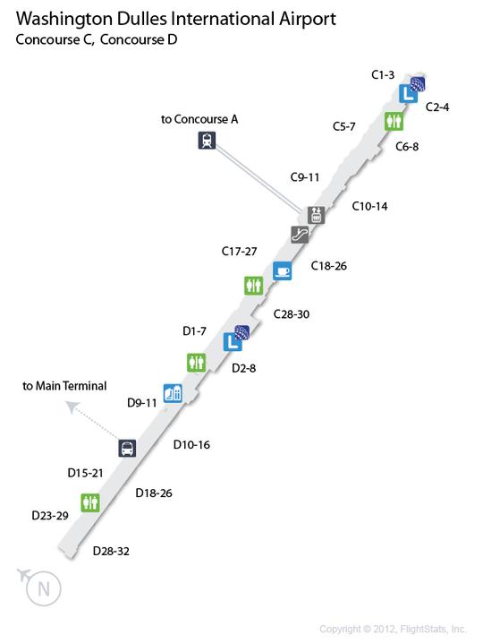 IAD) Washington Dulles International Airport Terminal Map | airports ...