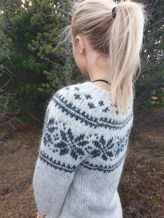 8a80e8cf8aa Icelandic wool sweater, woolly jumper, warm pullover, hand knit ...