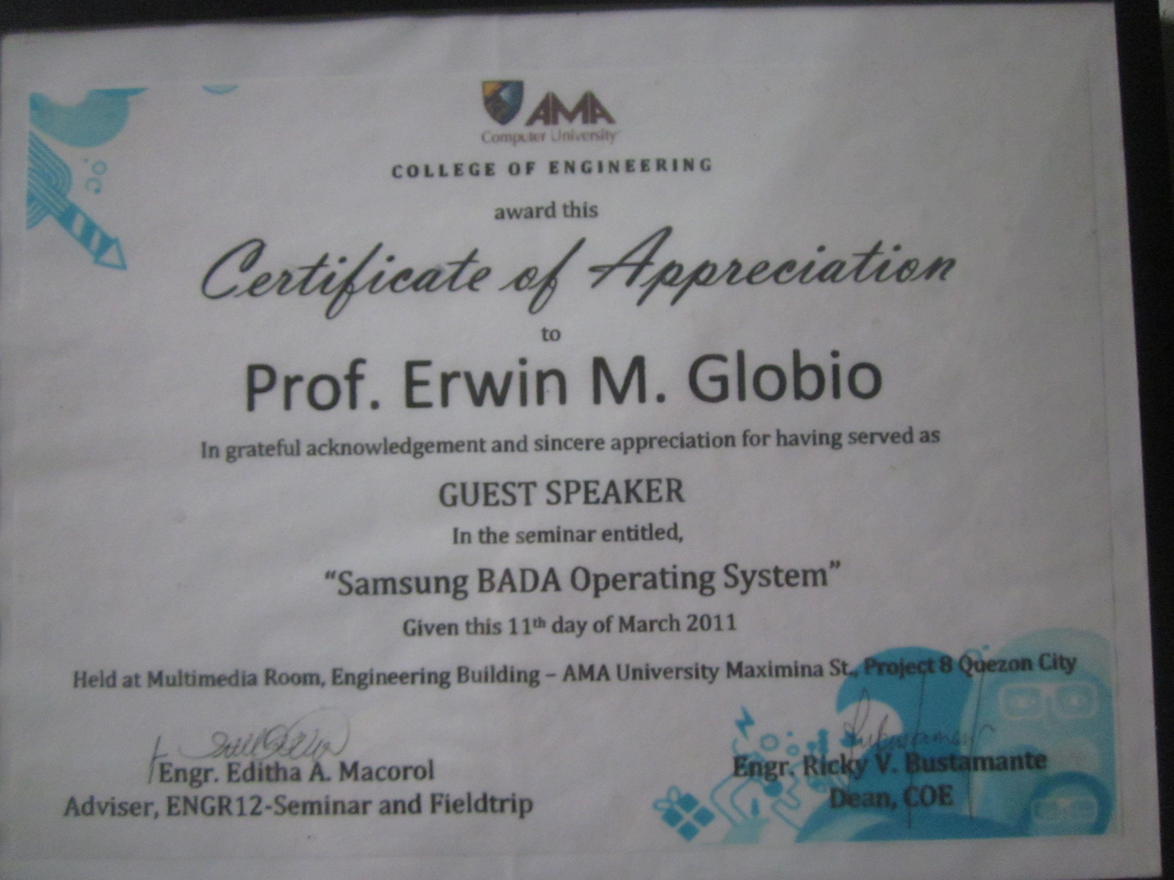 Prof erwin globios certificate of appreciation eglobiotraining erwin globios certificate of appreciation eglobiotraining resource speakers certificate pinterest certificate yadclub Choice Image