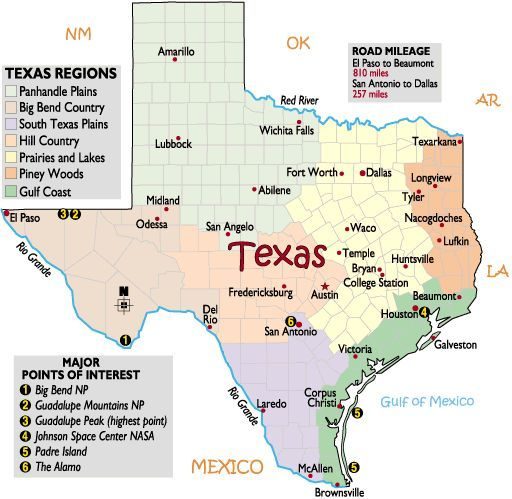 Map Of Cities In Texas Usa