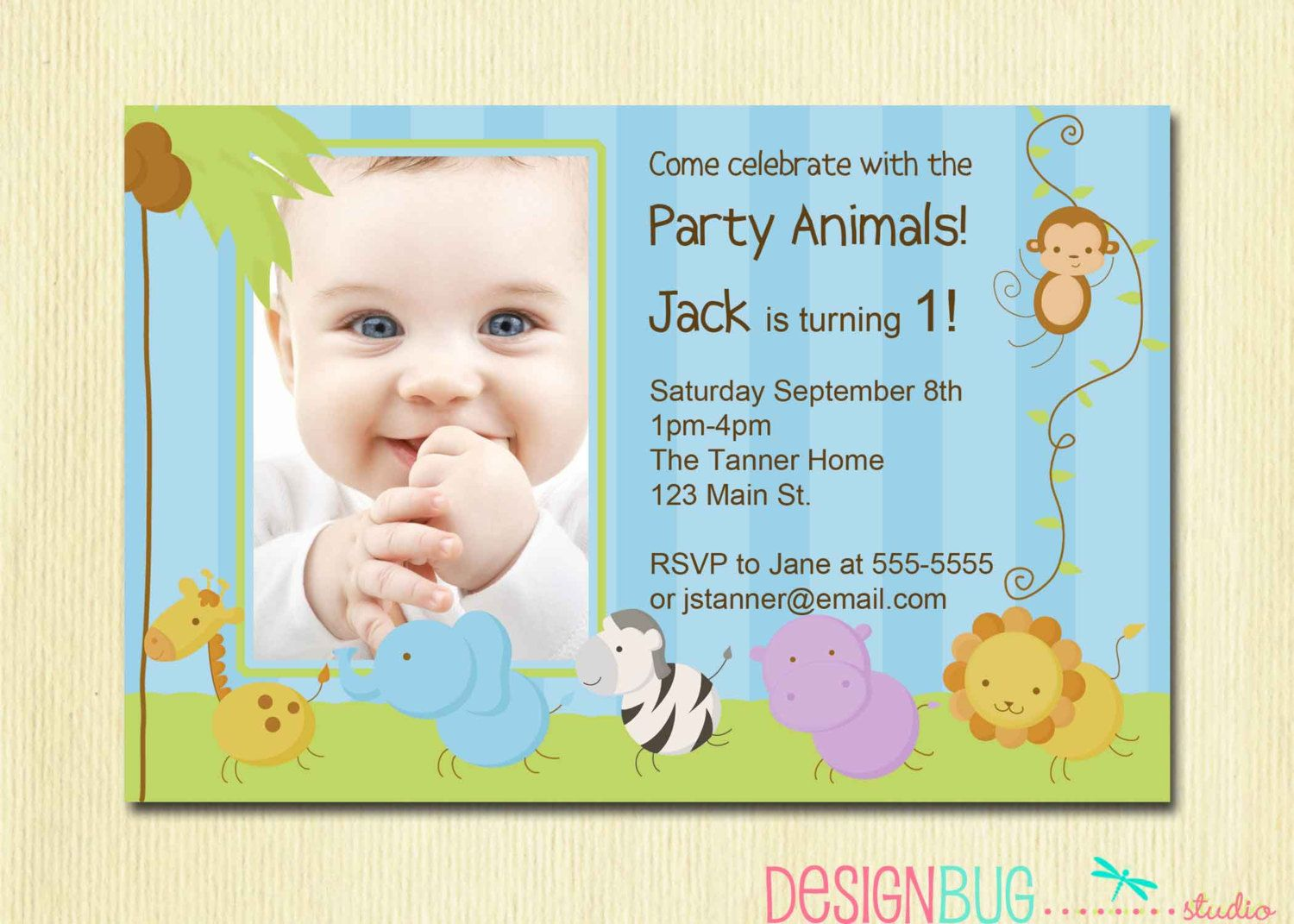 First Birthday Boy Invitation Baby Jungle Safari Party Invites