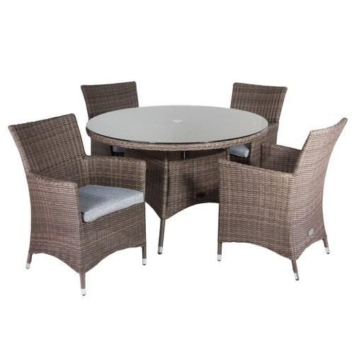 Good Hawaii Rattan 4 Seater Dining Set With Low Back Chairs In Onyx Cocoa With  Olefin Fabric