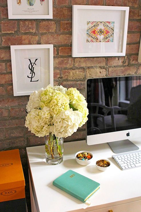 With Love From Kat - dens/libraries/offices - Bungalow 5 Jacqui Desk, Mint Embossed Python Leather Notebook, white desk, white desk with bra...