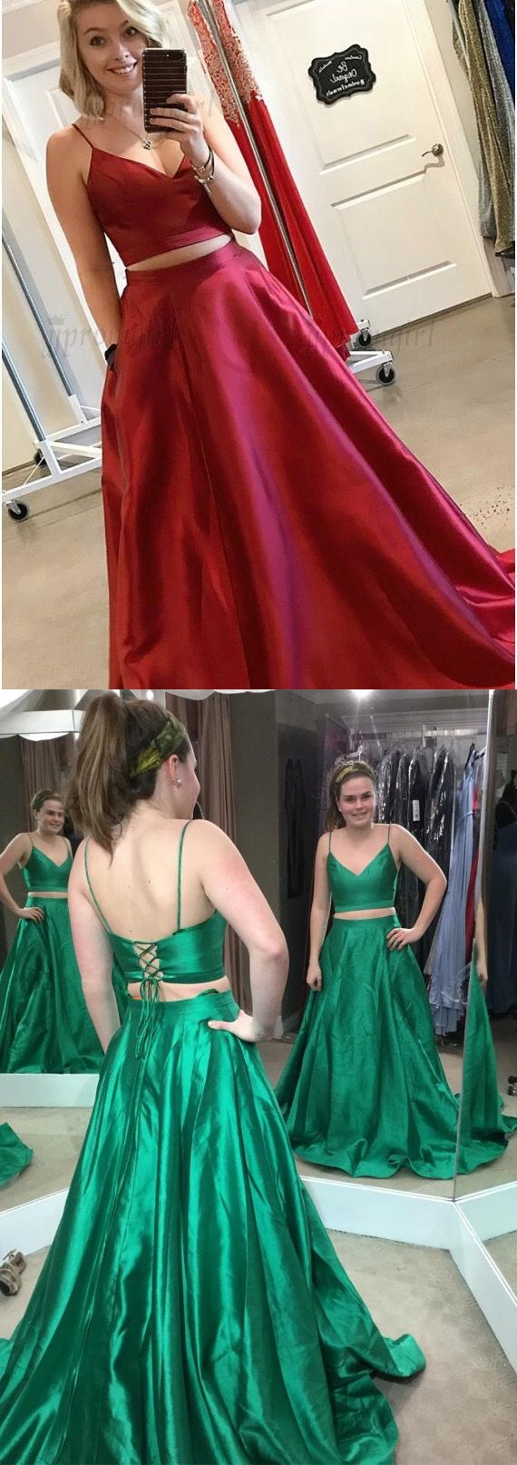 Two piece spaghetti straps floorlength red prom dress with pockets