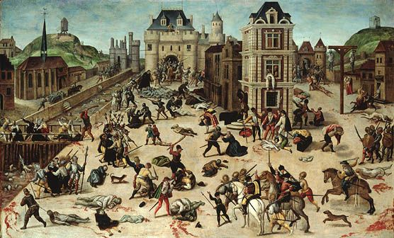 1572, Paris: Massacre de la Saint-Barthélémy.